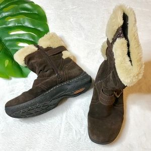 💫 Brown Faux Fur Lined Comfort Snow Boots Sz 8